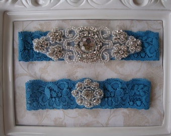 Wedding Garter - Bridal Garter - Teal Blue Garter - Crystal Rhinestone and Pearl Garter and Toss Garter Set