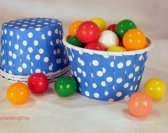 12 Blue Polka Dot Cupcake Muffin Candy Nut Cups -  Birthday Parties Showers Weddings 12 ct