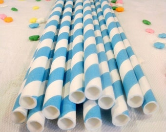 50 Blue Striped Paper Straws