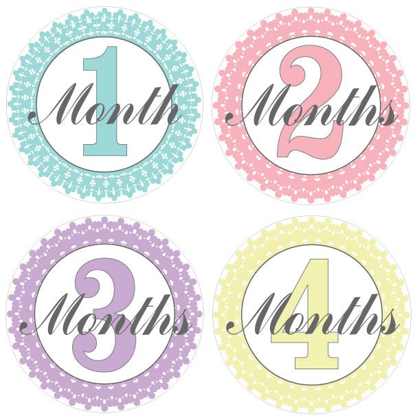 Fancy Pastel Printable Monthly Baby Stickers. Free by dcartdesign