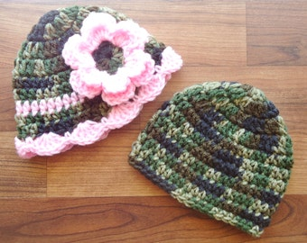 Crocheted Baby Twins Camo Hat Set, Twins Hat Set Boy/Girl Flower Hat - Camouflage & Light Pink Camo - Newborn to 24 Month - MADE TO ORDER