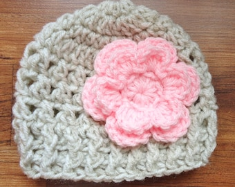 Crocheted Baby Girl Hat with Flower, Crocheted Baby Girl Hat Oatmeal with Light Pink Flower, Baby Shower Gift, Newborn to 5T - MADE TO ORDER
