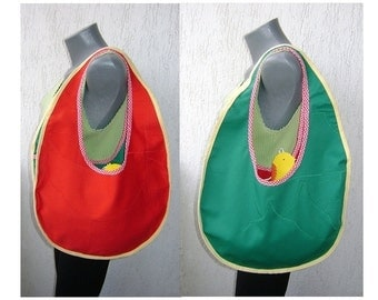 Easter Red-green reversible egg shaped bag with little chicken
