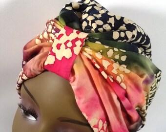 Cotton batik, fashion turban, hat, tribal, full turban, headwear, vintage style, designer, chemo, size Sm, Med, L, XL. Free shipping in USA.