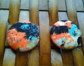 Fabric Covered Button Earrings-Graffiti Moon
