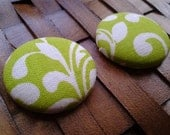 Fabric Covered Button Earrings-Zest