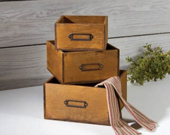 Wood Boxes Three Nested Brown File Storage Boxes Home Office Décor