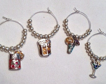 Beverage-themed Wine Glass Charms