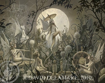 "The Spinning Web (Unframed 24""x18"" Giclée Print) Fairy Art / Faery Art  by David Delamare (Spiderweb)"
