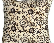 CAKRA MOTIF natural batik pillowcase 40 x 40, flower pattern, Floral, cushion cover, throw pillows hand stamped,
