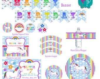 Unicorn Rainbow Printable Party Pack