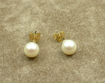 White Akoya Pearl Stud Earrings 7 - 7.5 mm