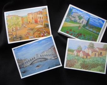 Boxed Set of 8 Fine Art Note Cards of Italian Scenes from Original Oil Paintings