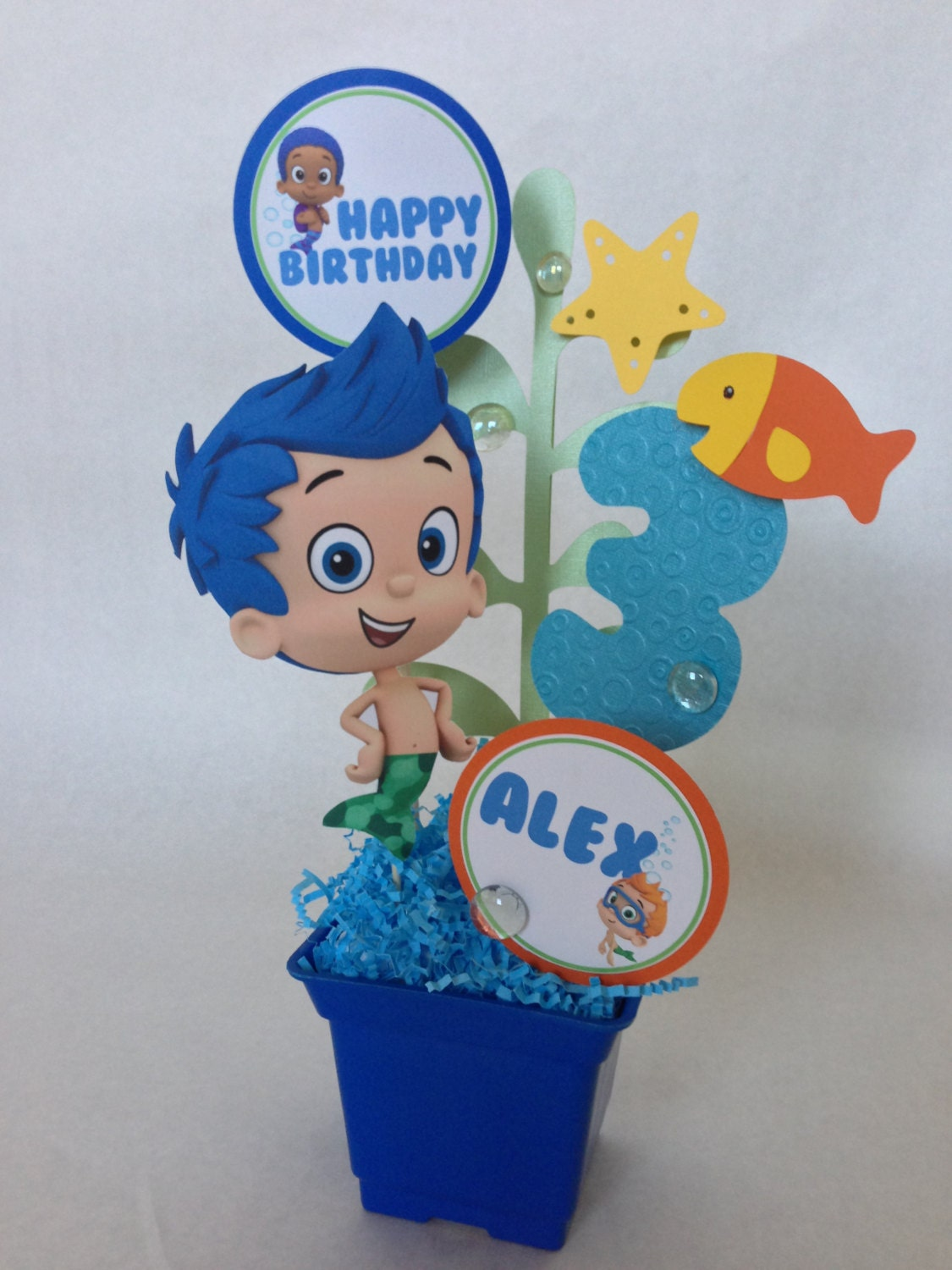 Bubble guppies birthday party centerpiece decoration - Bubble guppie birthday ideas ...