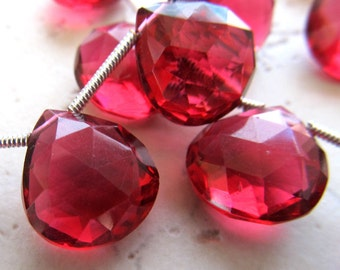 Pomegranate Red Quartz Faceted Heart Teardrop Briolettes 14mm - 8 inch Strand