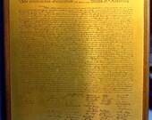 The declaration of Independance Brass Plaque