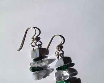 Blue Lace Agate, Quartz, and Malachite Dangles