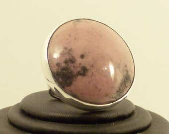 Round Jasper Silver Ring handmade with Large  Gemstone  Pink and Black  Rhodonite, Statement, Cocktail, Fashion Accesory