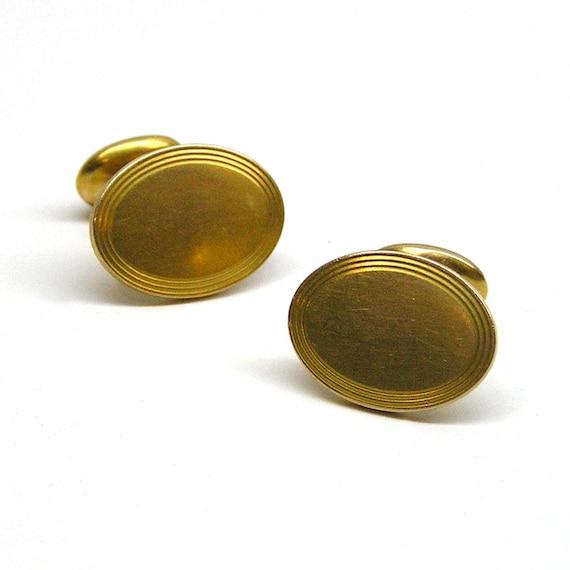Vintage Krementz Gold Plated Oval Cufflinks