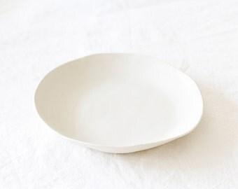 Handmade White Ceramic Shallow Bowl