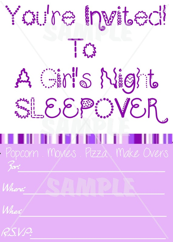 Items similar to blank purple girls sleepover invitation download items similar to blank purple girls sleepover invitation download printable digital file on etsy stopboris Image collections