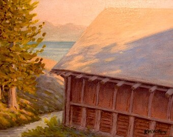 Wyoming 'Lake Yellowstone Boathouse' - original oil painting - impressionist - landscape - plein air - western - national parks - historic