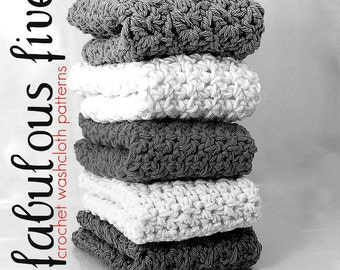 Fabulous Five Washcloth Wash Cloth Dishcloth Dish Cloth Crochet Pattern Lot Bundle PDF Download