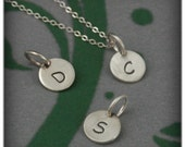 Charm ONLY Add On--Mini Initial Pendants in Solid Sterling Silver--Small Custom Hand Stamped Letter Pendant--Petite Round Initial Pendant