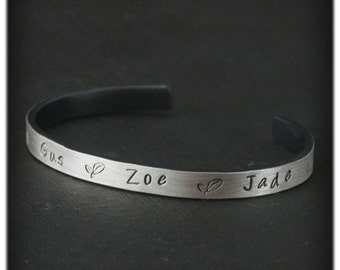 """Mother's Cuff Bracelet--Solid Sterling Silver--Custom Stamped with your """"Sprouts"""" names--4 or 5 Custom Stamped Names"""