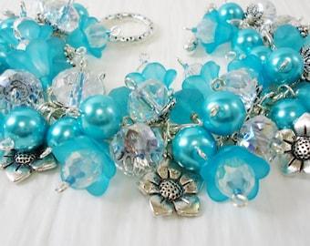Sky Blue Flower Charm Bracelet Cha Cha Bracelet with Free Earrings