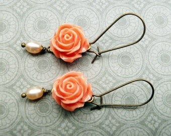 Earrings, shabby chic coral resin rose and pearl dangle earrings No. E74