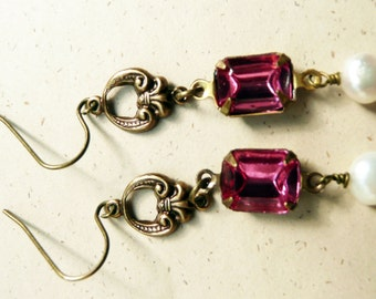 50% OFF Earrings, aged brass and Pink crystal dangle earrings No. 138