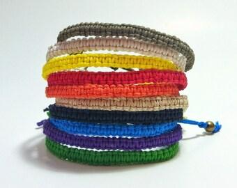 Adjustable Hemp Macrame Bracelet - 16 Color Options Available