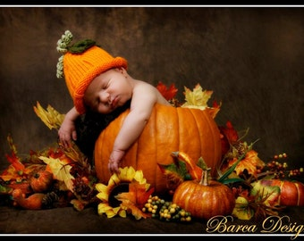 Knit Pumpkin Fruit Hat Cap Orange Or Any Colors And Size Newborn Baby Gift or Baby Photo Prop