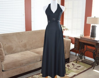 1970s 70s Long Black Halter Evening Prom Dress