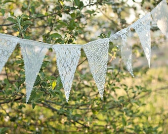 Lace Bunting Banner, lace bunting, wedding banner