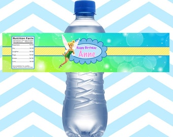 Water Bottle Labels Personalized Tinker Bell, Fairies Water Bottle Labels Printed Waterproof