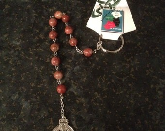 Hand Carved Cork Red Marble Penal Rosary Beads