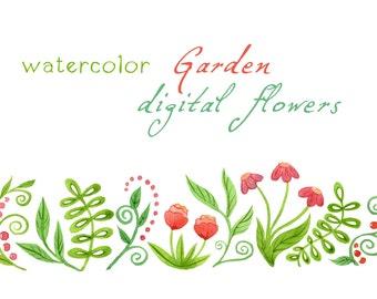 Digital Clipart, Watercolor Flowers, Watercolor Garden, Floral Border