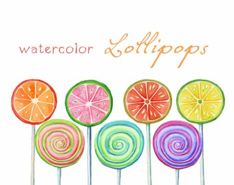Digital Clipart, Watercolor Lollipops, Watercolor Sweets, Candy, Birthday, Invitation