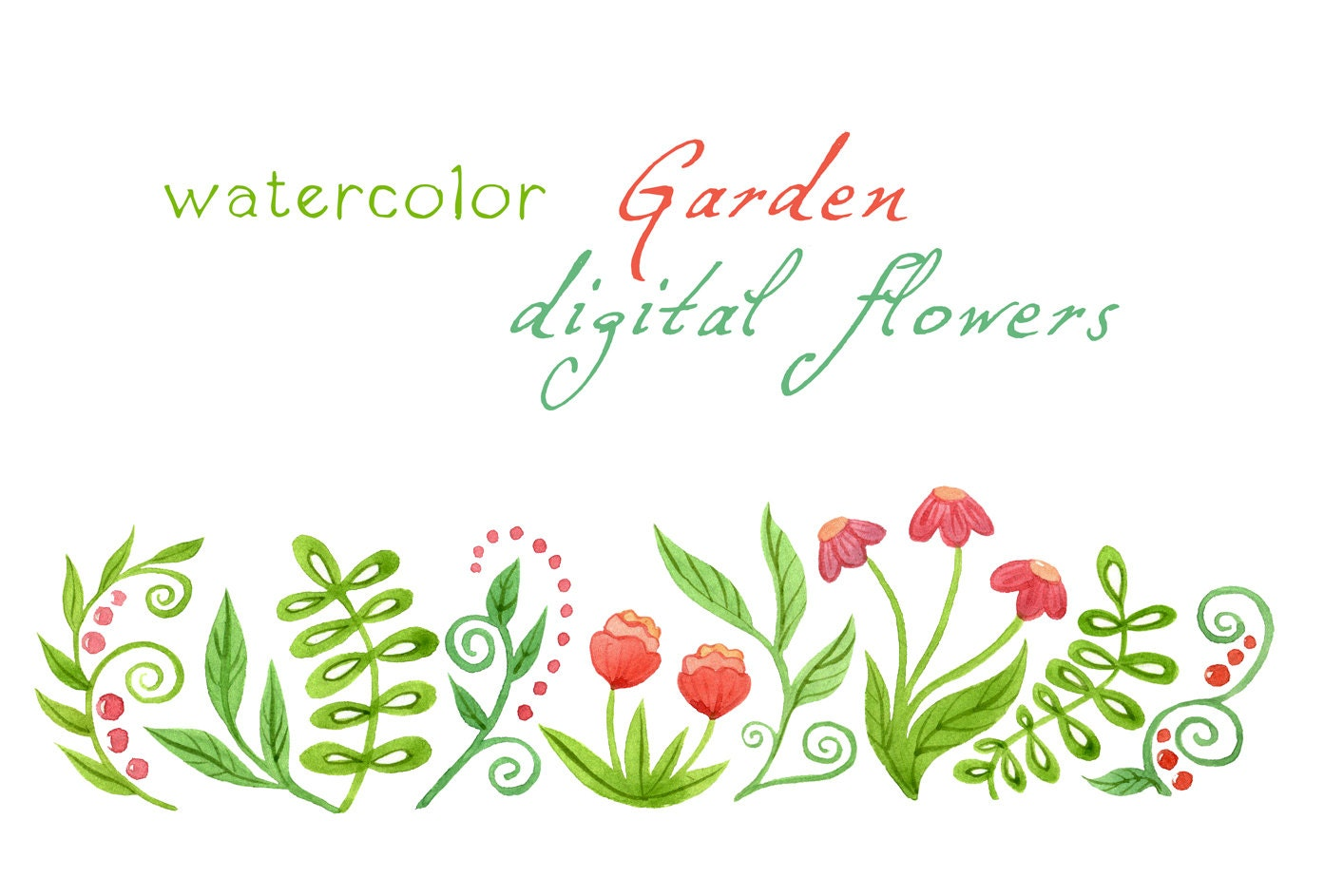 Digital Clipart Watercolor Flowers Watercolor Garden Floral