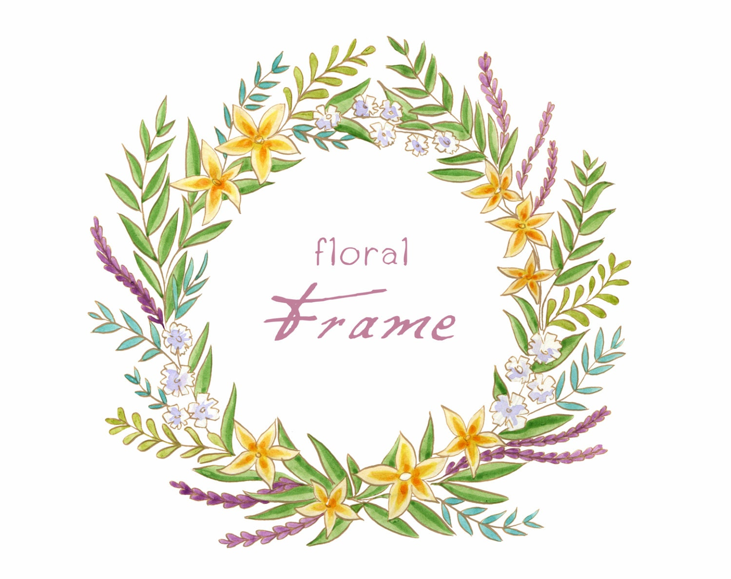 Digital Clipart Watercolor Floral Frame Watercolor Frame