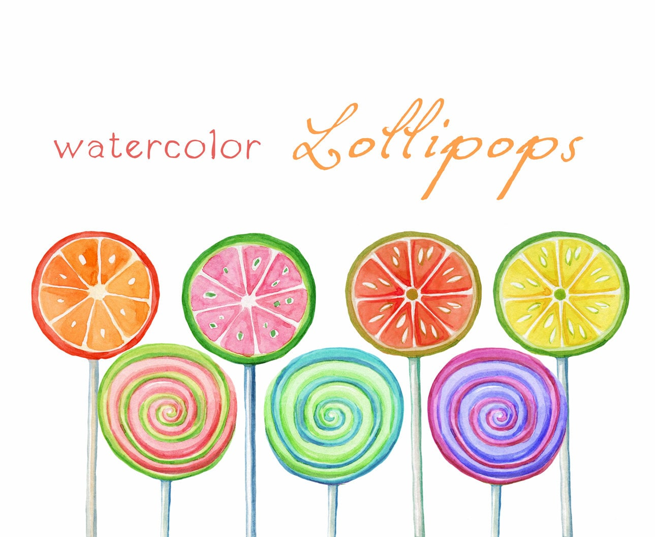Digital Clipart Watercolor Lollipops Watercolor Sweets