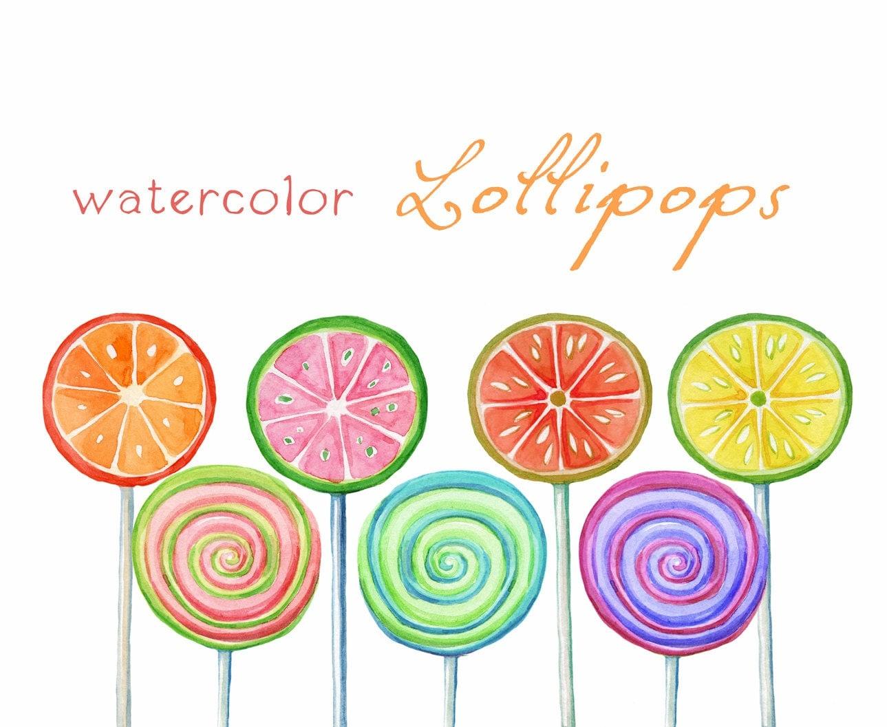 Digital Clipart Watercolor Lollipops Watercolor Sweets
