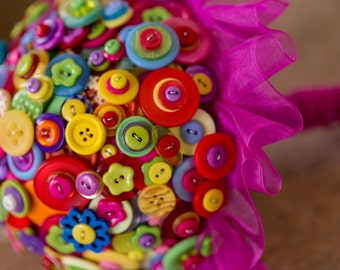 button bouquet ,'summer brights'