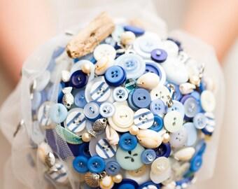 button bouquets beach theme wedding