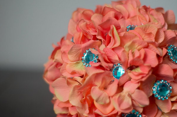 Coral And Turquoise Wedding: Coral And Teal Turquoise Hydrangea Brooch By LuckBridalDesigns