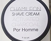 Mens Shave Cream Soap Activated Charcoal, Hair Removal, Moisturizing,Natural,Rich, Bentonite Clay,