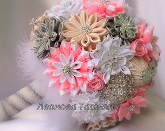 "Wedding Bouquet, brooch bouquet ""Geneva"" Pink, White, Ivory and Cream"