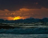 THE OCEAN COLLECTION, photograph, sunset, Oregon coast, stormy, dramatic, clouds, beach, ocean, nautical, blue, orange, gold, sun, rays